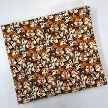 Мультфильм чип n  Дейл Бурундук милые Лоскутные хлопок холст Ткань для  Вышивание сумка Подушки Детские DIY скатерти Шторы диван . 6cc0bdd929ac5