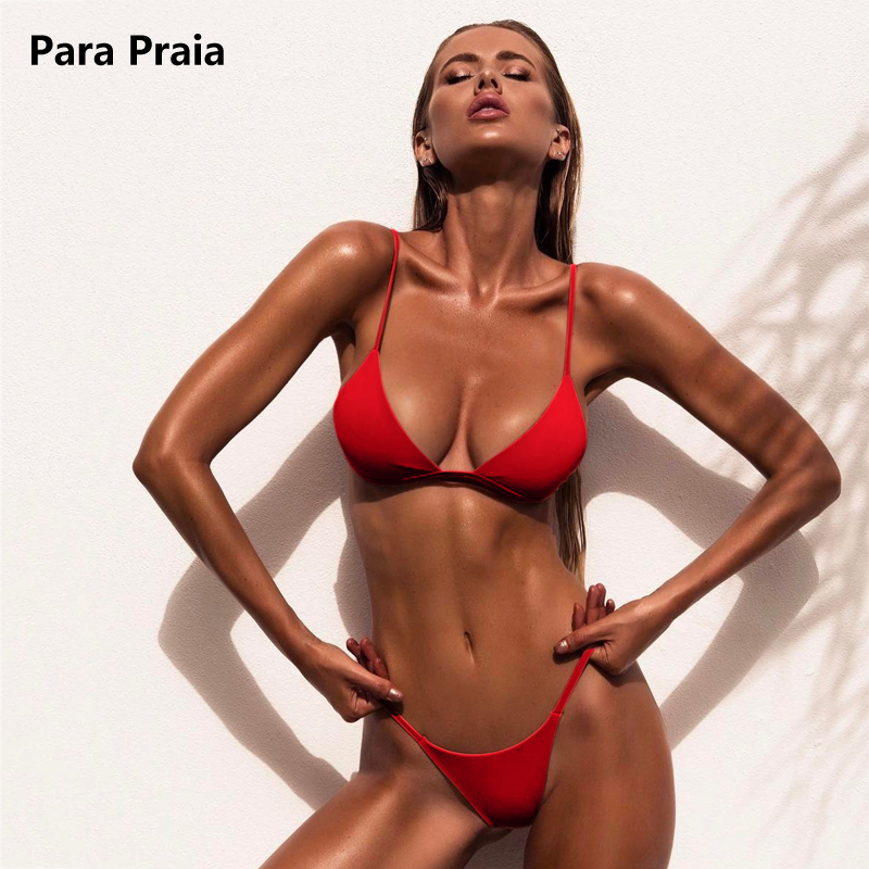 9 Couleurs Solide Bikini Ensemble 2018 Sexy Push Up Maillots De Bain femmes Maillot de Bain Brésilien Bas Taille Biquini Halter Deux Pièces de Bain costume