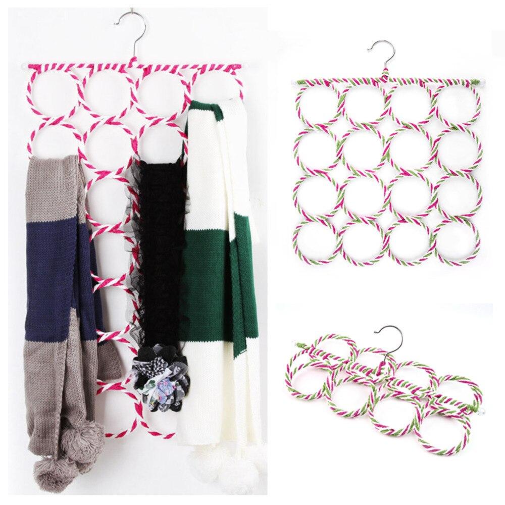 16 Holes Ring Rope Slots Rattan Weaving Folding Scarf Holders Hangers