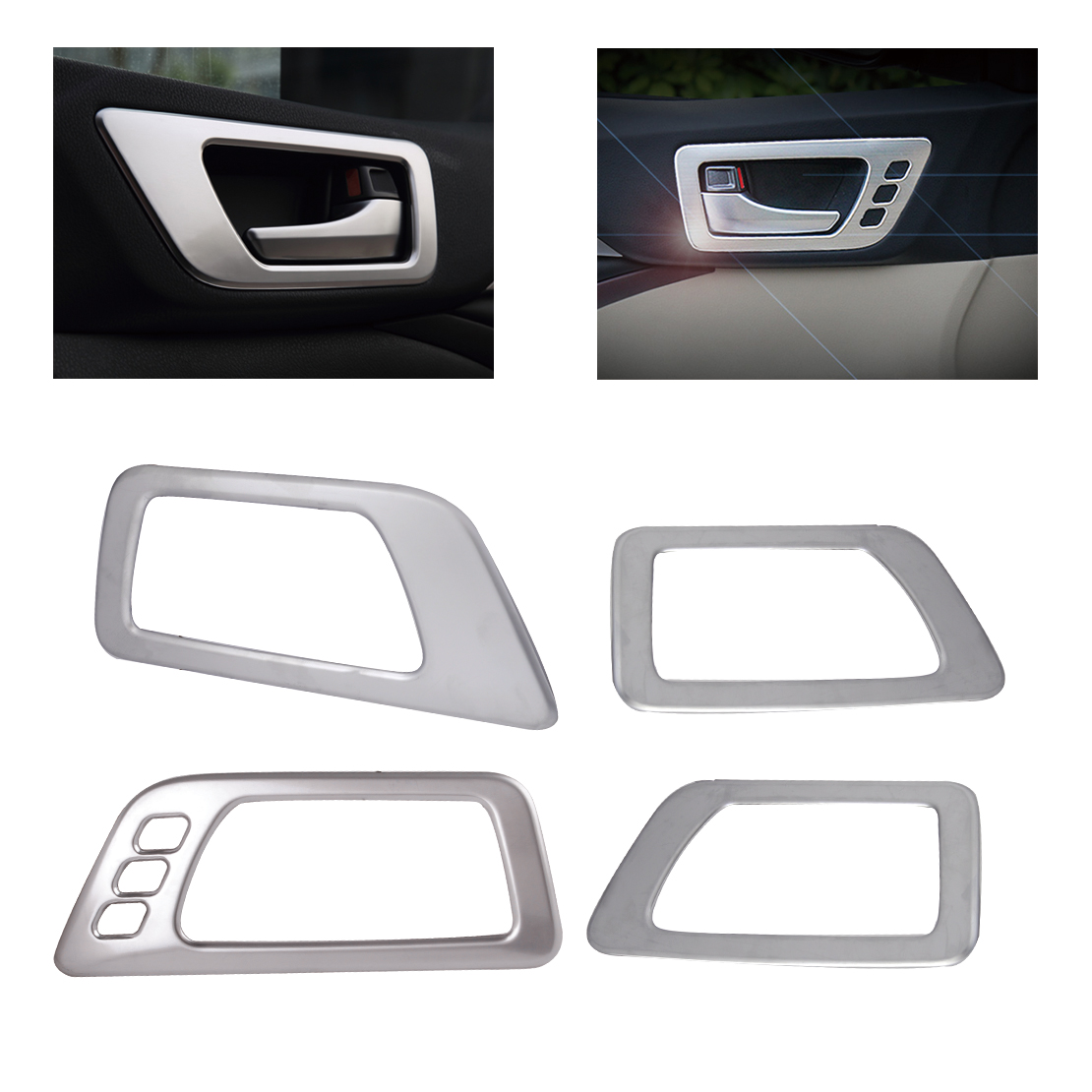 CITALL Car-styling 4pcs Interior ABS Matte Chrome Door Handle Bowl Cover Trim For Toyota Highlander Kluger 2014 2015 2016 2017