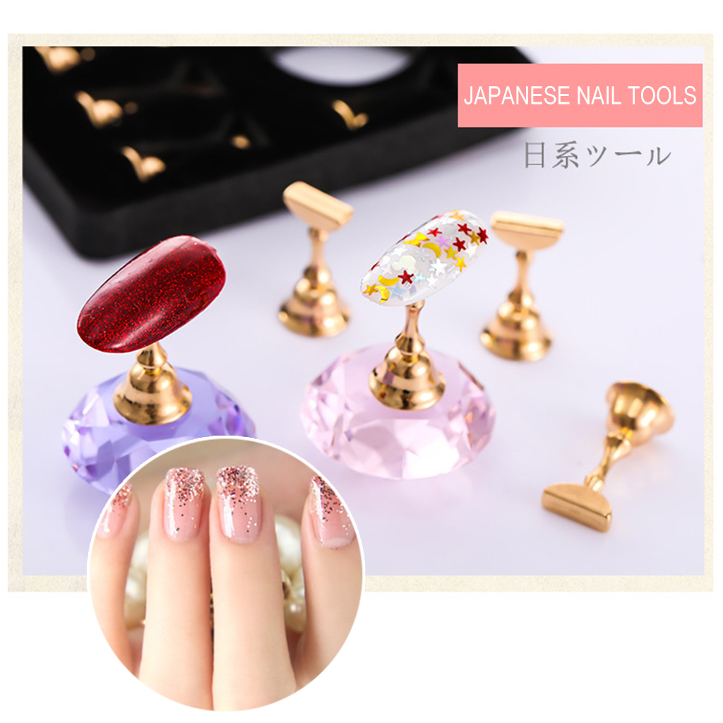 1 set Magnetic Nail Art Practice Training Display Stand Acrylic Crystal Holders Alloy False Nail Tip DIY Showing Shelf Tools 3d punk acrylic rhinestones for nail art jewelry glitter tools decorations alloy rivet spikes diy decoration na183