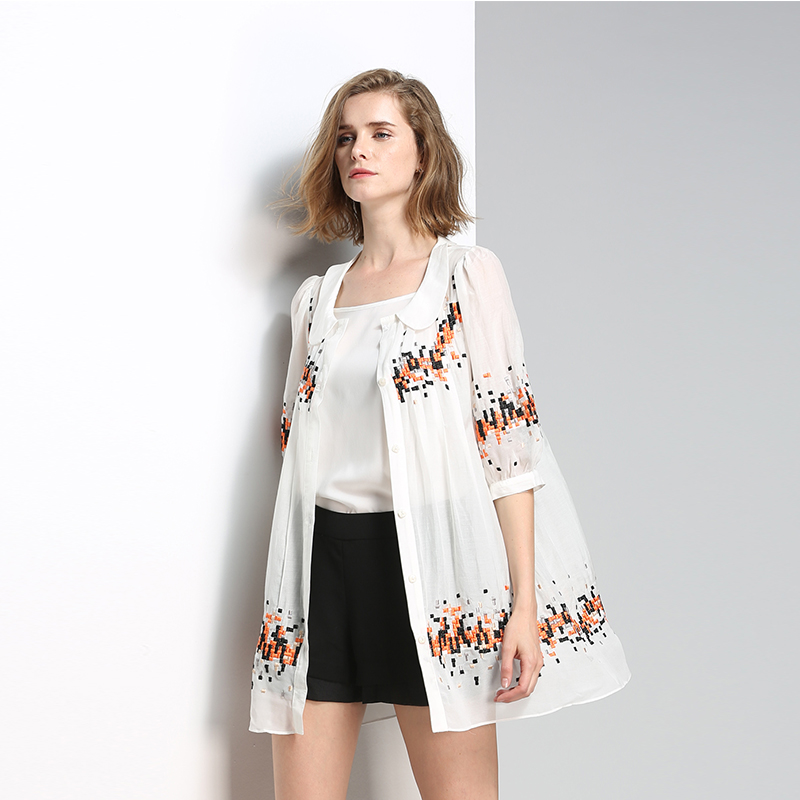 White Women Shirts Brand Sale Embroidered Lapel Peter Pan Collar Loose Long Shirt Oversized Elegant Sweet Blouses Special Offer