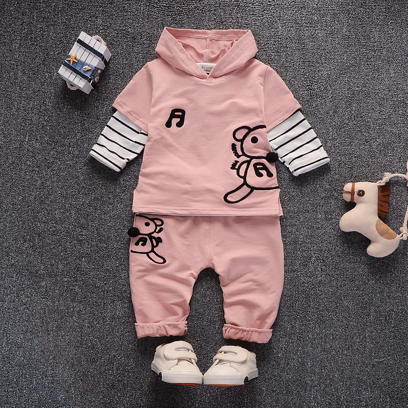 Baby Girl Boys Clothes 2017 Spring Autumn Baby Clothing Sets Cute Hoodies Coat + Striped Long T-shirt +Pants 3Pcs Baby Clothing купить