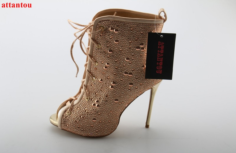 2017 Beautiful elegant champagne peep toe women boots thin high heel crystal lace up booties ankle high party dress shoes