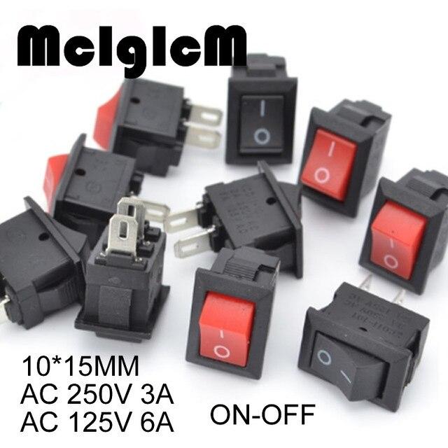 20 個ミニロッカースイッチ spst 黒と赤でスナップスイッチボタン ac 250 v 3A / 125 v 6A 2 ピン i/o 10*15 ミリメートルオン · オフスイッチロッカー