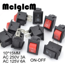 20 sztuk Mini przełącznik kołyskowy SPST czarny I czerwony zatrzask przełączniki przycisk AC 250V 3A / 125V 6A 2 Pin I/O 10*15mm On off przełącznik Rocker