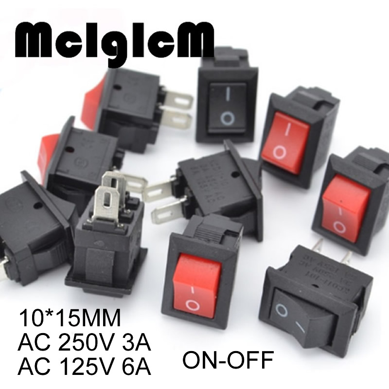 20pcs Mini Rocker Switch SPST Black and Red Snap in Switches Button AC 250V 3A / 125V 6A 2 Pin I/O 10*15mm On-off Switch Rocker 5pc lot free shipping flat handle rocker switch 3 pin on on spdt cqc ul rohs silver point toggle switch ac 6a 125v 3a 250v