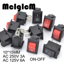 цена на 20pcs Mini Rocker Switch SPST Black and Red Snap in Switches Button AC 250V 3A / 125V 6A 2 Pin I/O 10*15mm On-off Switch Rocker