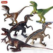 Oenux Prehistoric Dinosaur World Park Velociraptor Raptor Blue Action Figure Open Mouth Jurassic Dinossauro Model Kid Toy Gift