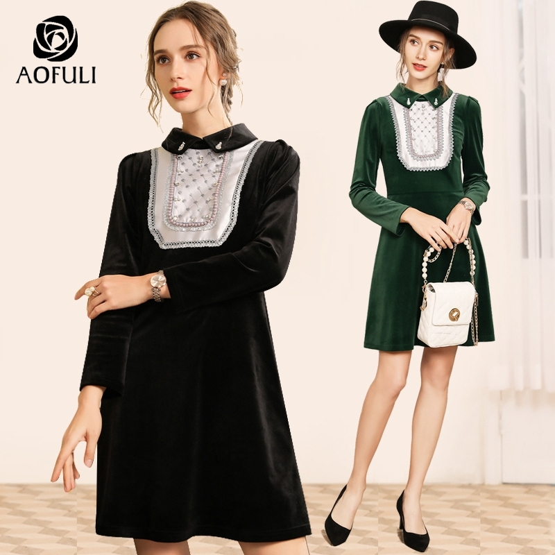 f6d2450a2 Aofuli Negro 5xl Para Vestidos 3xl Mujer Señoras Elegante Terciopelo  Burletes A3810 Vestido 4xl De Tamaño Negro Plus Verde Fiesta ...