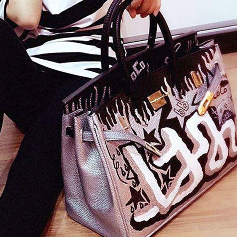 Togo cuir sacs à main de luxe femmes sacs concepteur D'art Graffiti Rue Femmes Messenger Sacs Peint À La Main sac peinture fourre-tout noir