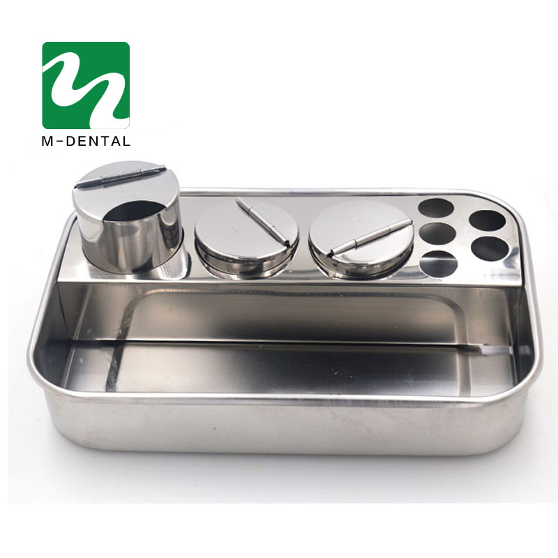 1 Set Dental Stainless Steel Dental Instruments Storage Box Lab Instrument Dental Tray With 3 Bottles