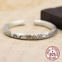 S925 pure silver heart sutra bracelet National restoring ancient ways Buddhism act the role ofing is tasted Couples water-wave