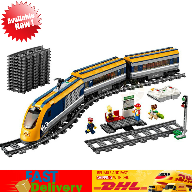 все цены на Lepin 02117 City Passenger Train Bluetooth Remote Control Motorized Model Building Blocks Bricks Toy Compatible LegoINGlys 60197 онлайн
