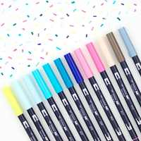 1pc TOMBOW AB-T Japan 96 Colors Art Brush Pen Double Heads Marker Profession Water Marker Pen Painting Kawaii Stationery