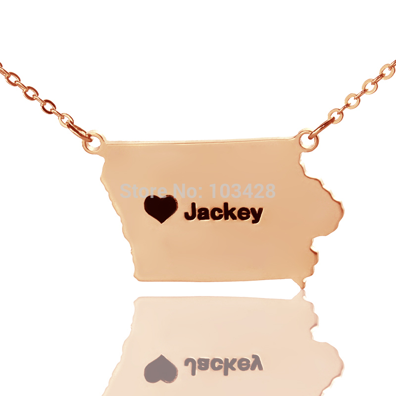 Personalized State Necklace Charms Iowa State Shaped Necklaces The Rose Gold Color Custom Map Necklace