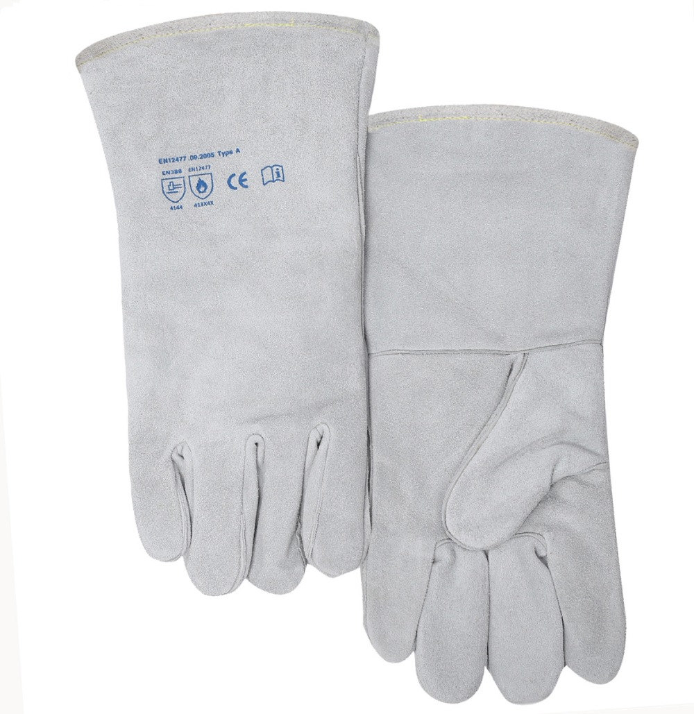 Work Glove Leather Welding Glove TIG MIG Welding Work Glove Comfoflex Natrual White Split Cow Leather Safety Glove все цены