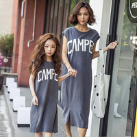 Summer 2017 Mother Daughter Dresses Loose Family Look Matching Clothes
