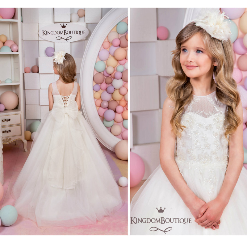 White Lace Pearls Girls Pageant Dress Birthday Graduation Dress with Bow Crew Neck 2019 Flower Girl Dresses for Wedding Party цена