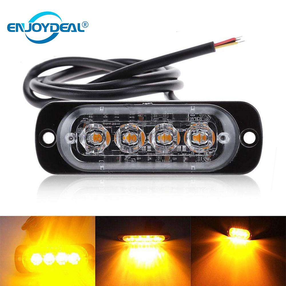 12V-24V  Universal Car Truck Amber 4LED Flash Emergency Light Hazard Strobe Warning Headlights Lamp Water Proof Lamp Light