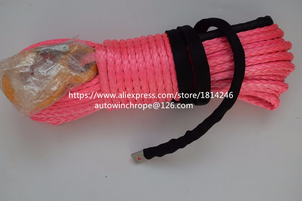 High Quality Pink 12mm*30m Synthetic Rope,Winch Rope Extension,Towing Rope,ATV Winch Cable,Boat Winch Rope