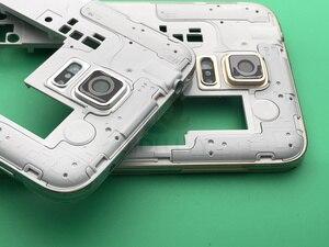Image 5 - S5 yeni tam konut Case orta çerçeve + kauçuk conta Case arka + cam Lens için otomobil parçaları Samsung Galaxy S5 g900 i9600 + araçları