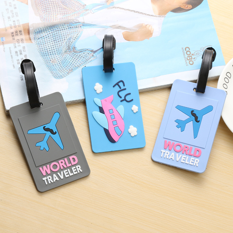 Cute Airplane Travel Suitcase Luggage Tag Cartoon ID Address Holder Baggage Label Silica Ge Identifier Travel Accessories image
