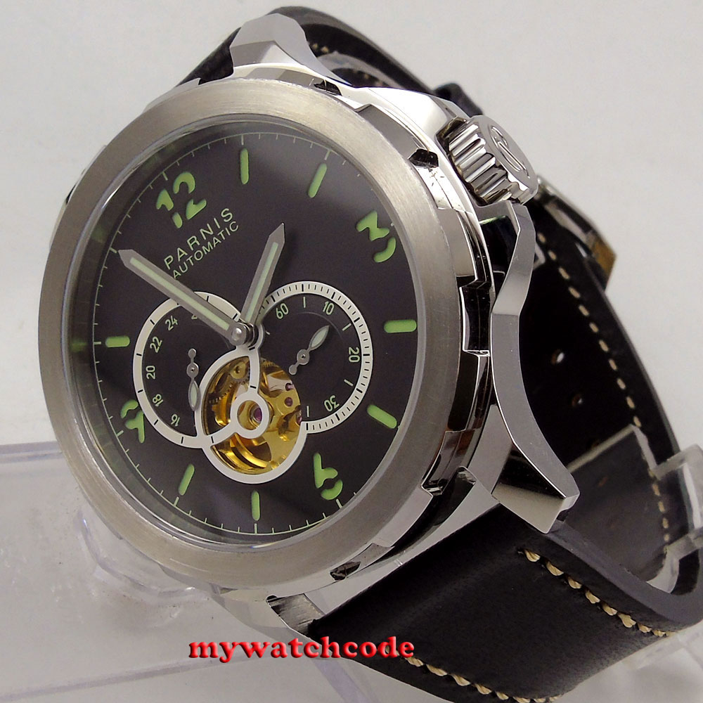 44mm Parnis sandwich black dial Sapphire glass miyota Automatic Mens Watch P919 цена и фото