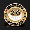 Metal Poker Guard Card Protector Coin Chip I Am So Good Gold Plated With Round Plastic Case Metal Craft Poker Chips Poker Game