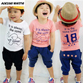2017 Summer Elephant Print Boys Childredn Clothing Sets Baby Kids Short Sleeve T-Shirts + Trousers Suits Boy