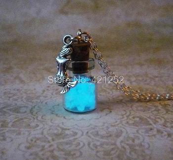 12pcs/lot Glow In The Dark Necklace Mermaid charm Fantasy Blue Glowing Jewerly in silver