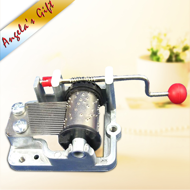 Silver Music box 18 Note Hand Crank musical box movement DIY, wedding souvenir/birthday gift free shipping Angela's gifts