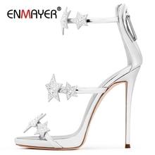 ENMAYER  Casual Buckle Strap Shoes Women High Heels Sandals Zapatos De Mujer Open Toe Size 34-43 ZYL2498