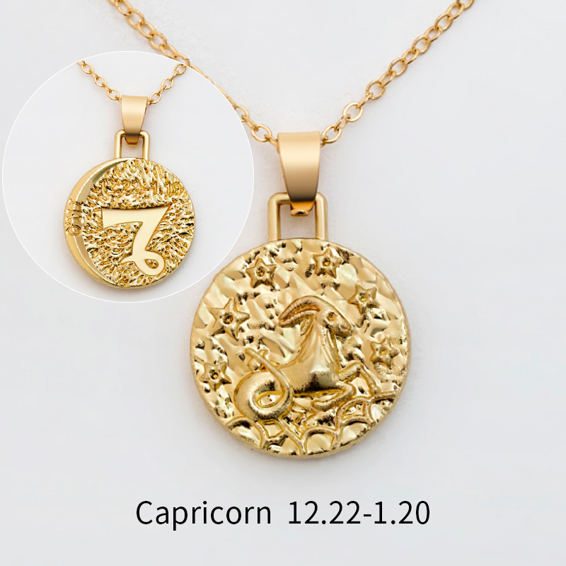 12 Constellation Jewelry Necklace Gold Virgo Libra Scorpio Sagittarius Capricorn Aquarius Zodiac Necklace Circle Pendant bijoux 30