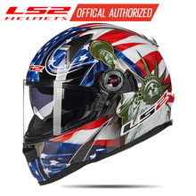LS2 FF396 originale in fibra di vetro del fronte pieno del casco moto rcycle casco con sunshiled airbag da corsa moto Certificazione ECE casco