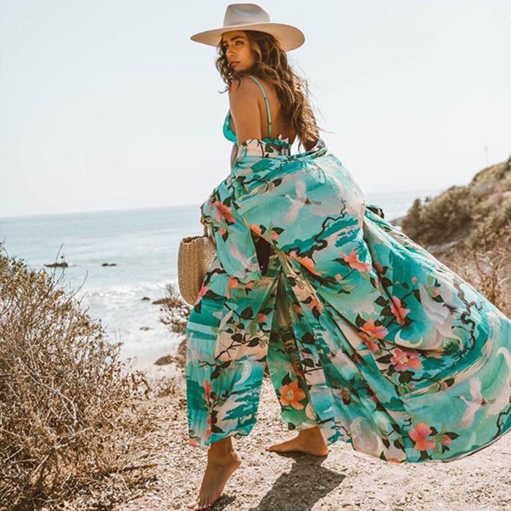 Nightingale Lotus Print Lose Jacke Kimono 2018 Herbst Sommer Frauen Boho Hippie Lange Strickjacke Floral Strand Cover Up Plus Größe SorgfäLtig AusgewäHlte Materialien Basic Jacken
