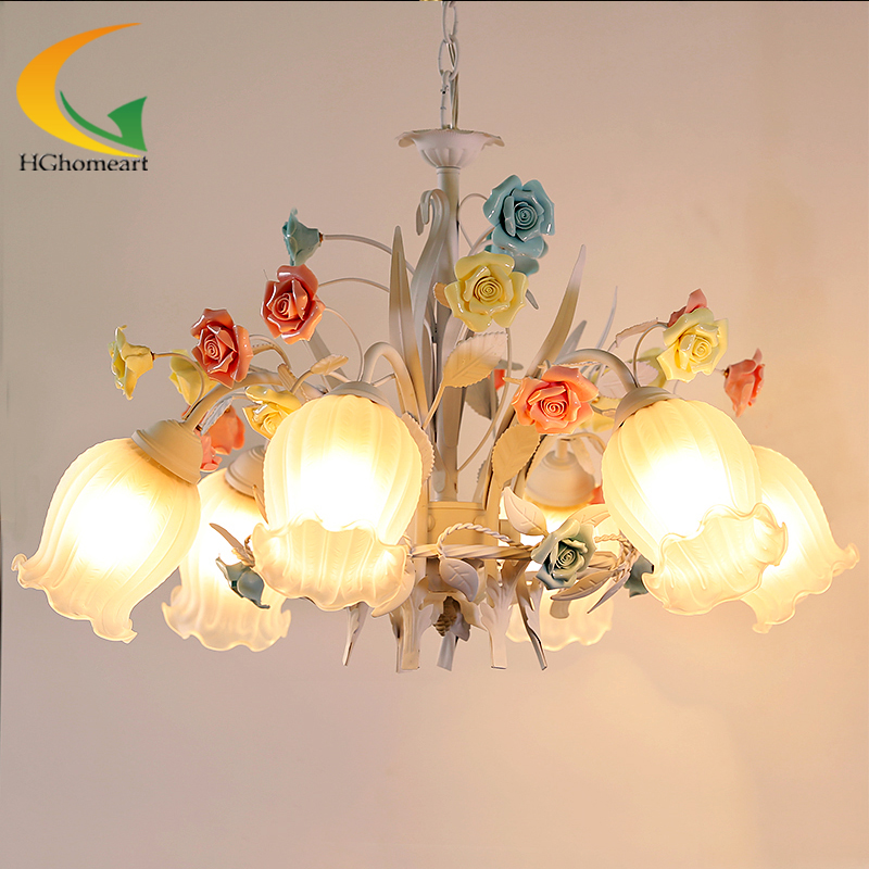 European-style garden wrought iron chandelier living room bedroom lamp white flowers and  colored flowers chandeliers korean princess wrought lamp iron bedroom led lamp american pastoral style living room children chandelier