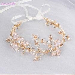 Jonnafe Gold Boho Leaf Hair Crown Wedding Headband Rhinestone Bridal Hair Vine Accessories Women Jewelry Headpiece