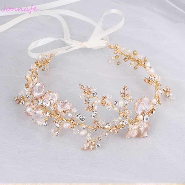 Jonnafe Gold Boho Leaf Hair Crown Wedding Headband Rhinestone Bridal Hair Vine Accessories Women Jewelry Headpiece