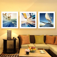 3 Panels Unframed Canvas Photo Prints Yacht In The Sea Wall Art Picture Canvas Paintings Wall