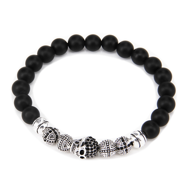TS Silver Plated Skull & Cross Beads Obsidian Bracelet From Heart of Rebel Width: 0.8cm, European Thomas Style Jewerly For Gift