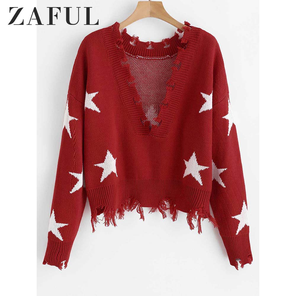 ZAFUL Destroyed Stars Graphic Sweater Women Crop Top Fall Sexy Ripped Deep V Neck Drop Shoulder Pullover Sweater Female Jumper