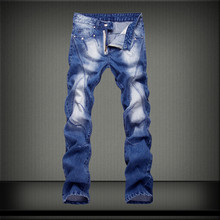 2016 New Designer design retro Slim jeans men worn denim trousers fashion straight jeans hip hop pants and the wind wash jeans