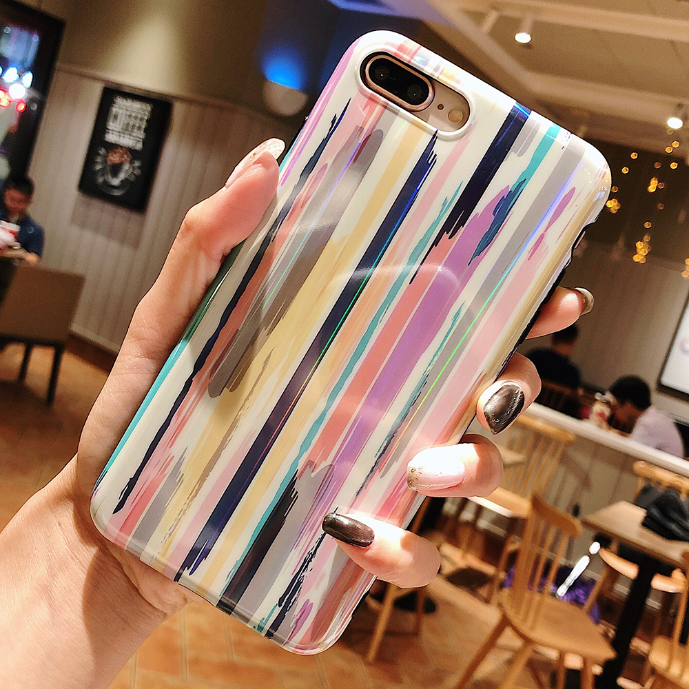 KIP7P1204_4_Aurora Laser Crayon Rainbow Case for iPhone 7 8 Glossy Soft Silicone Case For iPhone X XS 6S 7P 8 Plus Phone Cover