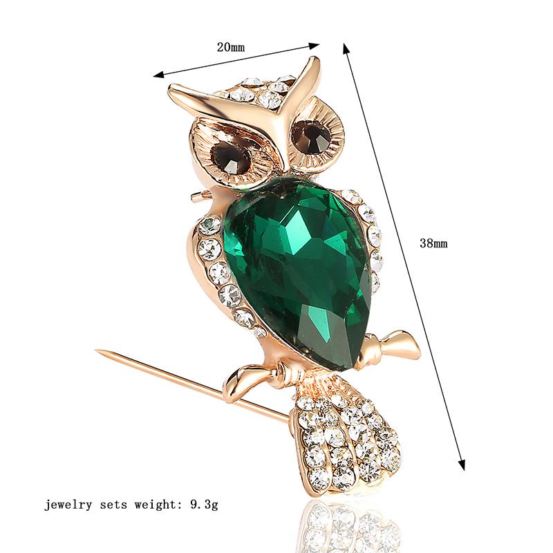 Vintage Green Big Owl Brooch