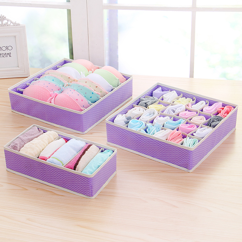 Purple New Nonwoven Foldable Storage Boxes Ties Sock Shorts Bra Underwear Divider Drawer Lidded Closet Home Organizer
