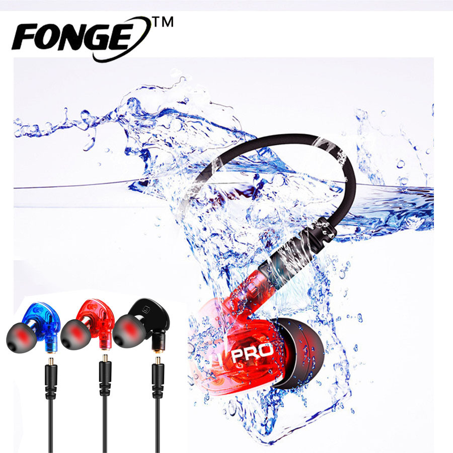 FONGE Monitor HiFi Earphones Sport Running Sweatband Waterproof Headset With Microphone For iphone Samsung Mobile Phone Headset
