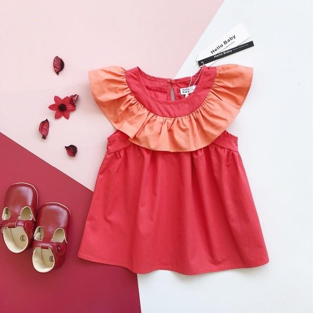 b4480957e52f EnkeliBB Brand Baby Girl Beautiful Dress Toddler Red Summer Dresses Kids  Ruffle Collar Tutu Dress European Style Kids Clothing