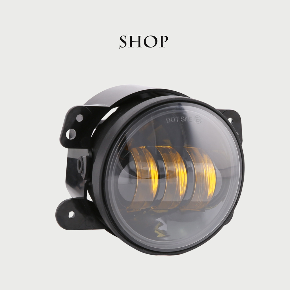 4 Led Fog Lights for Jeep Wrangler JK Led Fog Lamps Bulb Auto Len Projector Headlight Driving Offroad Lamp for Jeep Wrangler 2pcs car led headlight kit led bulb d33 h11 free canbus auto led lamps white headlamp with yellow light fog light for citroen c4