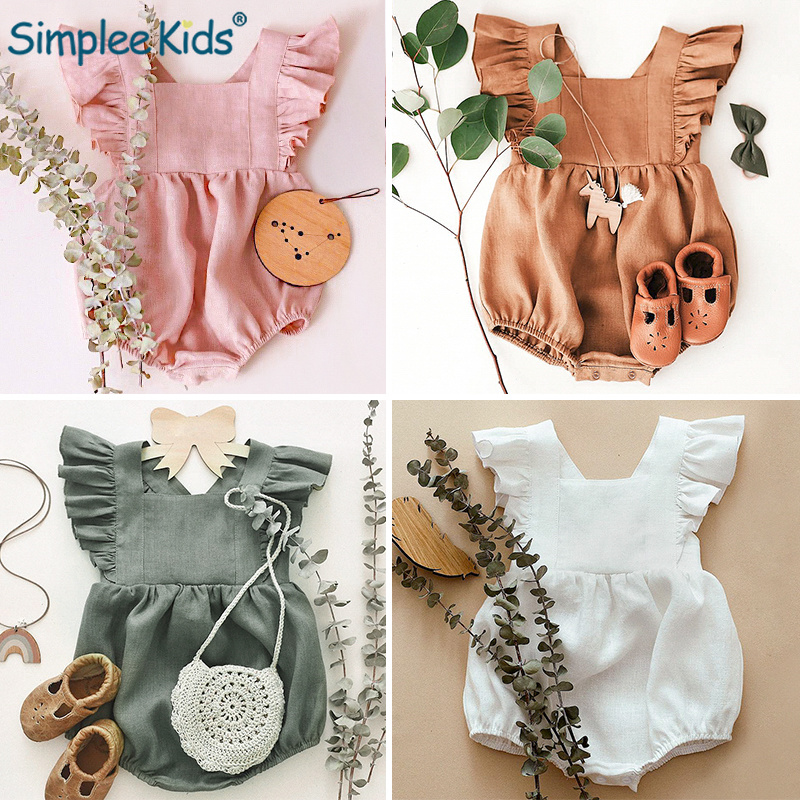 Newborn Baby Girl Ruffled Solid Color Sleeveless Backless   Rompers   Spring Summer Baby Clothes   Romper   Baby Girls Onesie 2019